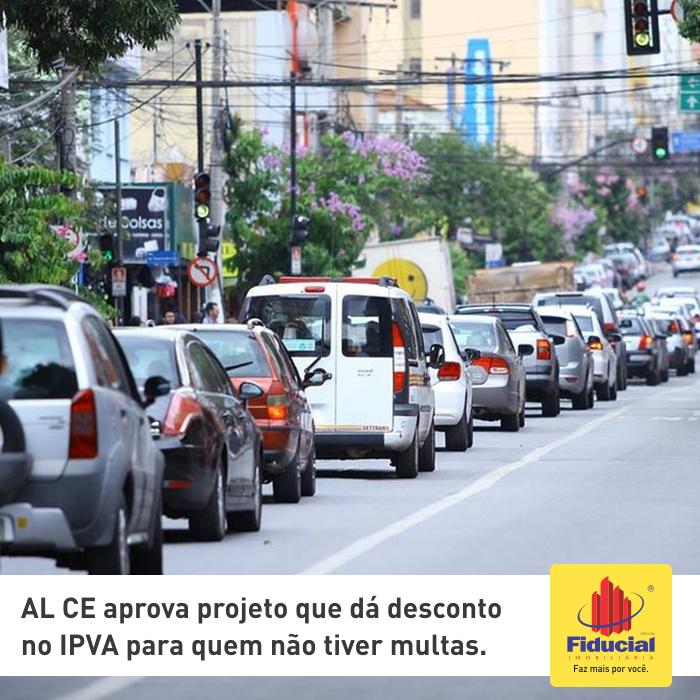 Assembleia do Ceará aprova projeto que dá desconto de até 10% no IPVA para quem não tiver multas